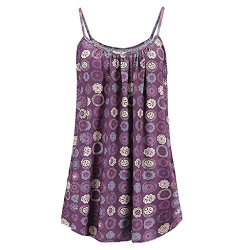 KIMODO Damen Lose ärmellose Tank Top Nationaler-Stil-Drucken Camisole Weste Plus Size T-Shirt Bluse Sommer Oberteile Große Größen -