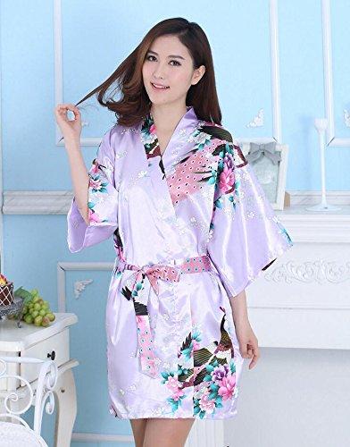 LJ&L Imitation Seide Frau atmungsaktive Pyjamas Druck lange Punkt Wolljacke Kleid lose große bequeme Nacht Schlaf Rock,Shallow purple,XXL (Punkt-kragen-weiß-boden)