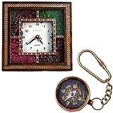 Bagru Crafts Wooden Wall Clock and Brass...