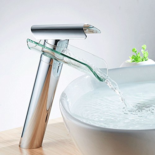 OUBAYLEW Glas Wasserfall Waschtischarmatur Wasserhan Armatur Waschbecken Einhandmischer Bad Küche - Chrom Glas Waschtisch