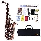 Dilwe Saxophon, Brass Alto Abalone Shell Tasten Gebogene Horn Saxophon mit Koffer Handschuhe Reinigungstuch Riemen Fettpinsel