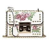 QinMM Damen Messenger Bags Stickerei Rose Crossbody Umhängetaschen Kette Körper Taschen Kleine Körper Taschen Geldbörse Stilvolle Schwarz Rosa Weiß (Weiß)