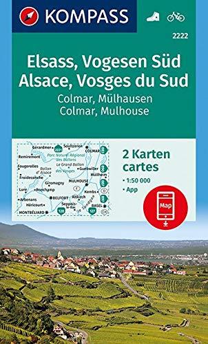 Wandern Wanderkarten (KOMPASS Wanderkarte Elsass, Vogesen Süd, Alsace, Vosges du Sud, Colmar, Mülhausen, Mulhouse: 2 Wanderkarten 1:50000 im Set inklusive Karte zur offline ... (KOMPASS-Wanderkarten, Band 2222))
