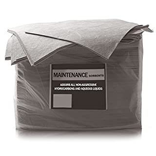 50 Pack of The Chemical Hut Maintenance Absorbent Spill Pads to absorb Oil, Fuel, Water & Chemical Hydrocarbons - comes with TCH Anti-bac Pen