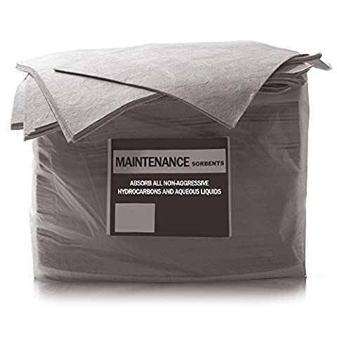 50 Pack of The Chemical Hut Maintenance Absorbent Spill Pads to absorb Oil, Fuel, Water & Chemical Hydrocarbons - comes with TCH Anti-bac