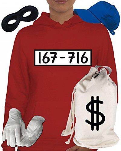 Deluxe Kostüm für Panzerknacker Fans Fasching Karneval Damen Hoodie+Geld Sack+Cap+Handschuhe+Maske, Größe: (Geld Kostüme)