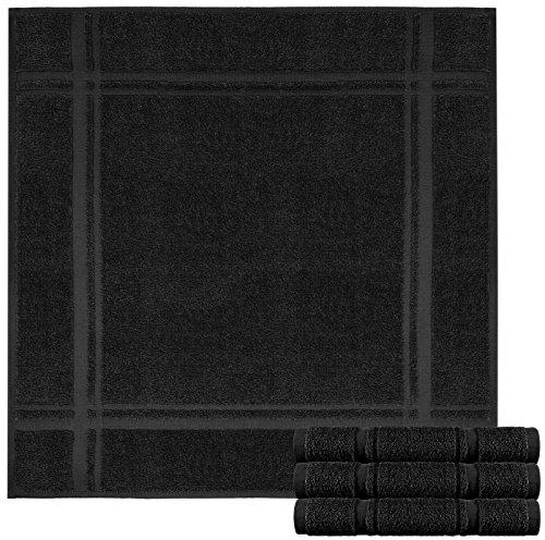 Handtücher Küchen Frottee Schwarz (Lashuma 4 teiliges Küchentücher Set schwarz - Frottee Spültücher 50 x 50 cm - hochwertige Geschirrtücher - 100% Baumwolle)