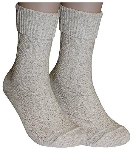 Tobeni 1 Paar Trachtensocken Socken kurz mit Umschlag und Zopfmuster Baumwolle-Leinen meliert für Damen und Herren Farbe Natur Meliert Grösse 39-42 - 5