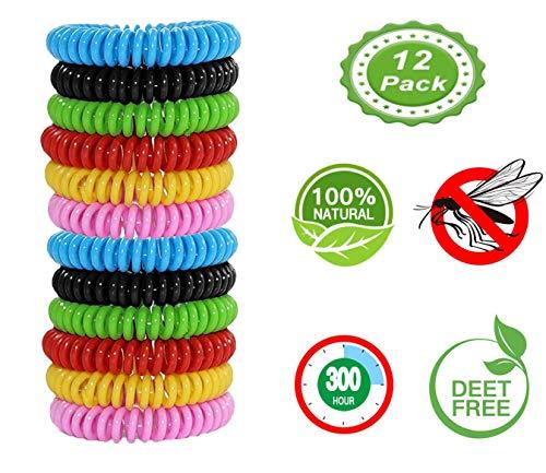 KuTi Kai Wasserdichtes Mückenabwehr-Armband, AntiInsekten-Bänder, Moskito-Bänder, 12 Stück - Citronella, alle natürlichen DEET-freien Anti-Insekten-Bänder, sicher für Kinder und Erwachsene