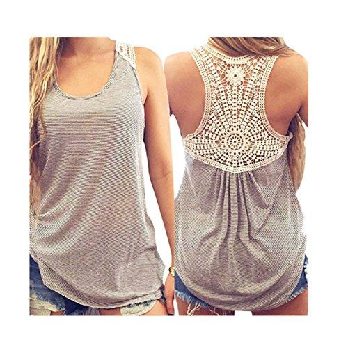CYBERRY.M Femme Fille Sans Manches Dentelle Débardeurs Rayé T-Shirt Vest Blouse (L, Gris)