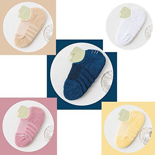 Socken weiblichen Baumwolle Dicke Terry Socken rutschfeste Silikon boot Handtuch Socken Sport reine Farbe, alle Codes [5, 2] Karte der Gummi Pulver Weiß Peacock Blue Light Gelb (Pulver-boot)