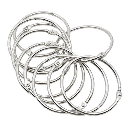 ckeltes Metall Loose Leaf Ringe Binder Scharnier Snap Ring Schlüsselanhänger Ring, Silber 2.2-inches 100pcs ()
