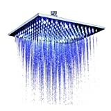 #8: 3gdecor LED Color Changing Water Glow Square Temperature Sensor Shiny Panel Rain Bathroom Shower Head (12inch)