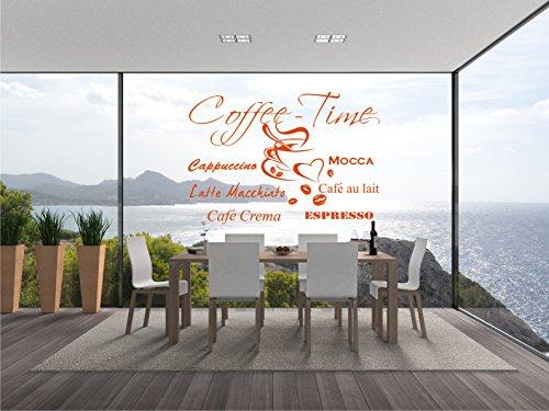 too Wandsticker Wandaufkleber Aufkleber - Wandaufkleber Kaffezeit - Aufkleber für die Küche zum lecker Kaffee und Kuchen - 108cm x 80cm orange E955 ()