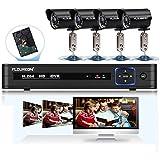 Floureon Kit de vidéosurveillance 8CH Full 960H HDMI DVR Système de Surveillance Sécurité - 900LTV Lot de 4 Caméras Vision Nocturne - Accèss à distance via Smartphone ou PC - avec 1000Go Disque Dur
