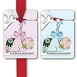 Baby Geschenk Anhänger, Papieranhänger zur Taufe, Geschenk Karten (8Stk) universal Hänge Etiketten zur Geburt mit süßem Baby und Storch in rosa/hellblau: Für Euer Wunder