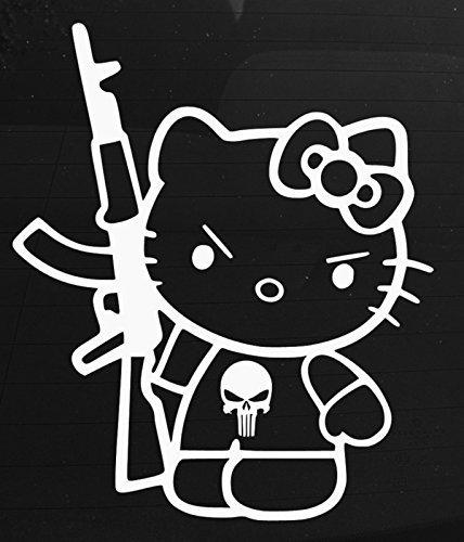 (SUPERSTICKI® Hello Kitty Punisher Aufkleber Decal Hintergrund/Maße in inch Vinyl Sticker Cars Trucks Vans Walls Laptop White 5.75 in CCI385)