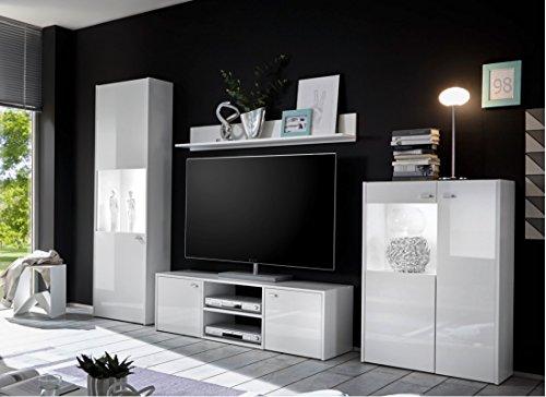 Wohnwand 4-teilig weiß Hochglanz modern mit LED-Beleuchtung - 2