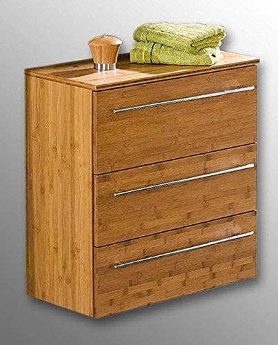 lifestyle4living Unterschrank aus Bambus massiv, 3 Schubkästen mit Soft-Close Dämpfung, Oberflächen matt lackiert, Maße: B/H/T ca. 65/72/35,5 cm -
