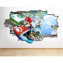Mundo J17Super Mario Bros Kart para pared Póster 3d arte pegatinas vinilo habitación, HUGE (100x175cm)