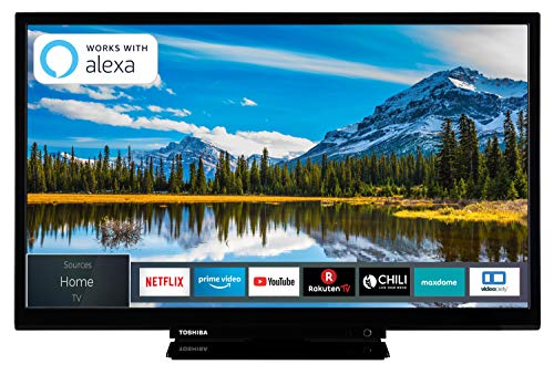 Toshiba 24W2963DAX 24 Zoll Fernseher (HD ready, Smart TV, Triple-Tuner, Prime Video, Works with Alexa, Bluetooth) Hdtv Tv Tuner Pc