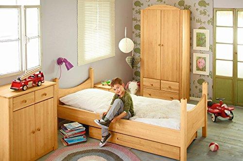 BioKinder 22810 Noah Spar-Set Kinderzimmer komplett: Kinder-Bett, Kommode, Kleider-Schrank aus Massivholz Erle (Erle-set Bett)