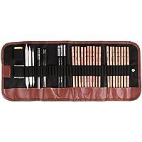 Dibujo Sketching Pencil Set 18pcs lápiz carbón boceto Set con Roll Up lienzo bolsa de transporte lápices goma de borrar Craft cuchillo lápiz Extender para artista