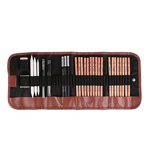 ZEICHNEN Zeichenstift-Set 18Pen Kohlezeichnung Set mit Roll Up Leinwand Tragetasche Bleistifte Radiergummi Craft Messer Bleistift Extender für Künstler