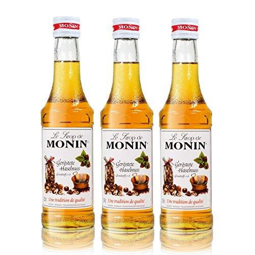 3x Monin Geröstete Haselnuss Sirup, 250 ml Flasche - für Cocktails, zum Kaffee oder Kochen