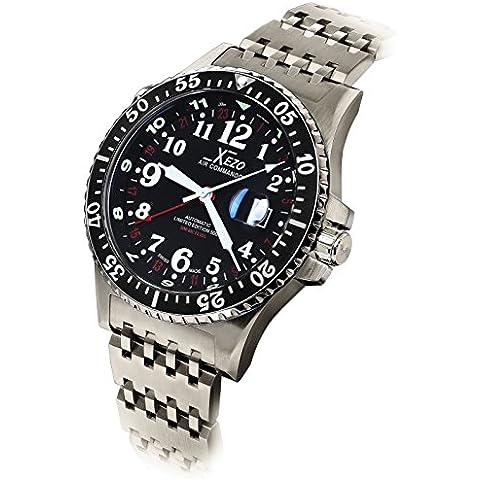 Xezo Air Commando Divers Pilots - Reloj automático suizo GMT en edición limitada con movimiento ETA 2893-2, resistencia al agua hasta 30 ATM y triple huso