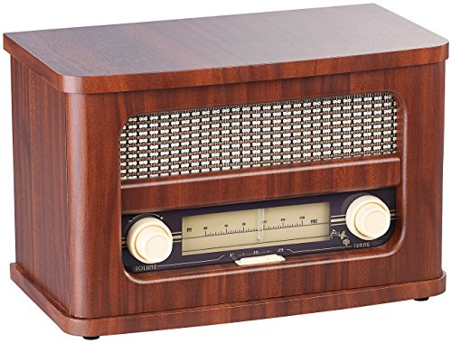 auvisio Nostalgieradio Stereo-FM-Radio 12W, Holz, Akku, Bluetooth, USB Ladeport (Retro Radio)