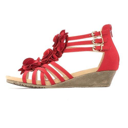 Alexis Leroy Sandales Femme Plateforme Compensées Fleurs Chaussures Rouge