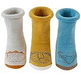 3Paar Babysocken Anti Rutsch Socken mit Niedlichem Muster für 0-36 Monate Baby Mädchen Jungen Baumwolle Socken Dicke Herbst- und Wintersocken BKT-S