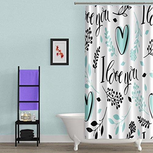 Duschvorhang sunnymi Valentine's Day LOVE Stil Wasserdichte 180x150cm✔ Waschbarer Duschvorhang Textil Duschvorhang aus Stoff (E, Polyester-Gewebe) (Sliding Dusche Türen Zubehör)