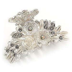 Avalaya-Haarspange für Braut/Abschlussball/Hochzeit, Acryl-Blume, Kristall, silberfarbenes Metall, 55 mm.