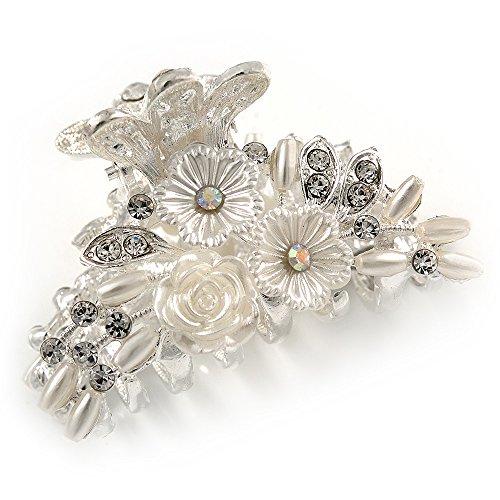 Petite de mariage/bal/mariage Fleur acrylique, cristal Griffe de cheveux en métal argenté – 55 mm de diamètre