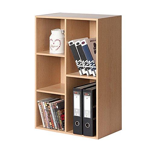 Zeitschriftenständer Bücherregal Holz Platz 5 Fächer Schränke Schlafzimmer Bücherregal Ahorn Größe 80 * 23,8 * 50 cm -