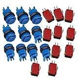 bqlzr Bleu 33mm Taille Complète Jeu Vidéo Arcade Bouton poussoir rond + Micro interrupteur Lot de 10