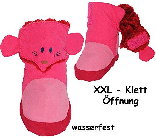 "Thermo - Überziehschuhe / Lauflernschuhe - "" Maus - rosa & pink "" - incl. Name - Größe: 3 bis 6 Monate / Gr. 17 - 18 - Fleece gefüttert - mit langem Schaft & Klettverschluß / wasserdicht & atmungsakti"