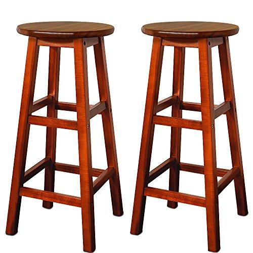 2x Barhocker Akazien-Holz braun - Barstuhl Bar Stuhl Küche Küchenstuhl
