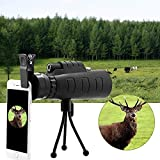 GSmart 40x60 hd Monocular Telescope Panda Lens for Mobile Adjustable Focus with Mini Tripod and Camera Clip for All Android and iOS
