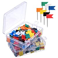 200 Pieces Map Flag Push Pins - Assorted 7 Colours