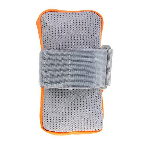 MagiDeal Braccio Custodia Sacche Sportivo per Cellulare per Sport Corsa Trekking Ciclismo Esaurimento - verde Arancione