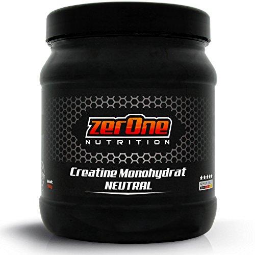 ZerOne Nutrition Creatin Monohydrat 500g Hochdosiertes Pulver wasserlöslich, Made in Germany Ausdauer und Muskelwachstum Kristallines Kreatin Pulver
