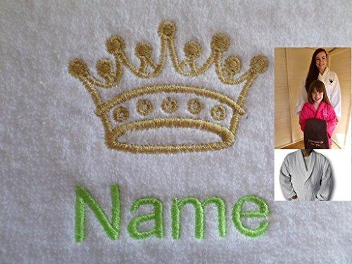 Bademantel für Erwachsene mit einem Kings Crown Logo und Namen Ihrer Wahl in weiß, Größe M, L, XL oder XXL, 100 % Terry-Baumwolle, weiß, ()