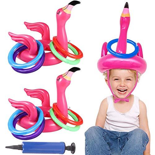 Amycute Flamingo Aufblasbar Ringwurfspiel Outdoor Indoor Eltern Kinder Spiele Ringe Werfen Pool Spielzeug für Draußen Hawaii Luau Pool Party Kindergeburtstag.