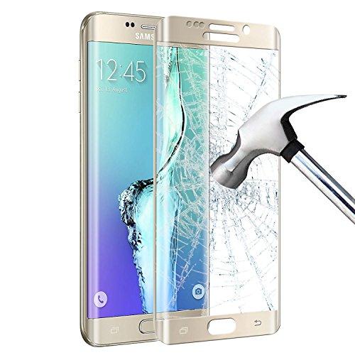 Preisvergleich Produktbild Samsung Galaxy S6 edge plus Schutzfolie [Vollständige Abdeckung],  Infreecs Panzerglas [Klar HD Ultra] [Anti-Kratzer] Anti-Fingerabdruck Displayschutzfolie Displayschutz Screen Protector Für Galaxy S6 edge plus,  Gold - 1 Stück
