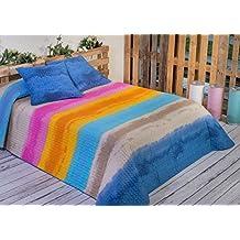 Algodón Blanco Benidorm - Colcha bouti estampada, para cama de 90 cm, 180 x 270 cm, 1 funda de cojín, 60 x 60 cm, color azul