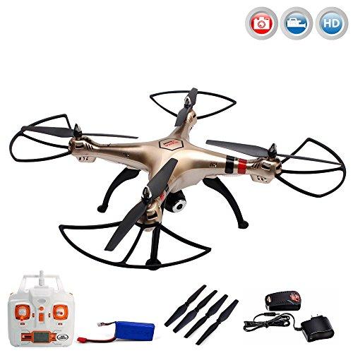 X8HC PRO - 4.5-Kanal Ferngesteuerter XXL Quadrocopter 3D Drohne mit HD-Kamera optional mit WiFi Live-Übertragung-Set erweiterbar, Höhenbarometer und vieles mehr,Mega-Set Crash-Kit