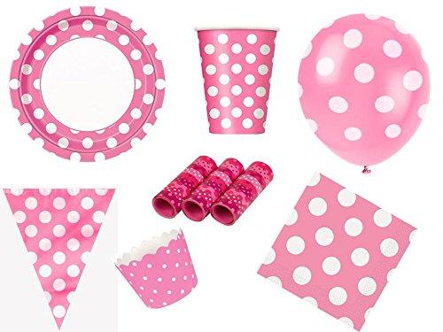 48-tlg. XXL-Partyset DOTS pink Tupfen Punkte - Partygeschirr und Zubehör